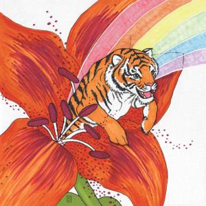 Tigerlily flower and tiger illustration